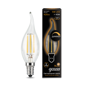 Лампа Gauss LED Filament Candle tailed dimmable E14 5W 2700K 1/10/50