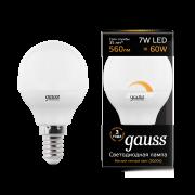 Лампа Gauss LED Globe-dim E14 7W 3000К диммируемая 1/10/100