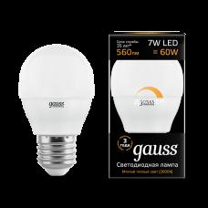 Лампа Gauss LED Globe-dim E27 7W 3000К диммируемая 1/10/100