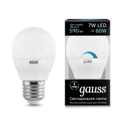 Лампа Gauss LED Globe-dim E27 7W 4100К диммируемая 1/10/100