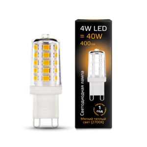 Лампа Gauss LED G9 AC185-265V 4W 2700K керамика 1/10/200