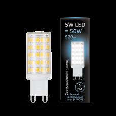 Лампа Gauss LED G9 AC185-265V 5W 4100K керамика 1/10/200