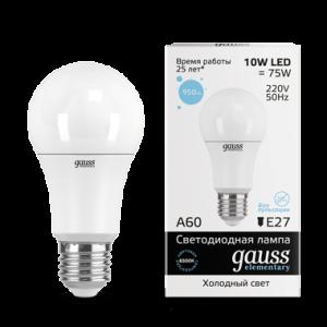Лампа Gauss LED Elementary A60 10W E27 6500K 1/10/50