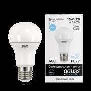 Лампа Gauss LED Elementary A60 15W E27 6500K 1/10/50