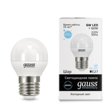 Лампа Gauss LED Elementary Globe 6W E27 6500K 1/10/100
