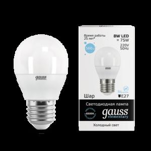 Лампа Gauss LED Elementary Globe 8W E27 6500K 1/10/100