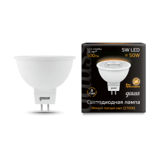 Лампа Gauss LED MR16 GU5.3 5W 3000K 1/10/100