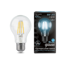Лампа Gauss LED Filament A60 E27 6W 4100К 1/10/40
