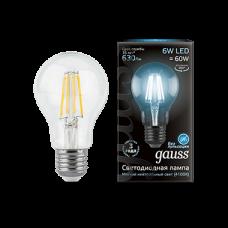 Лампа Gauss LED Filament A60 E27 6W 4100К 1/10/40