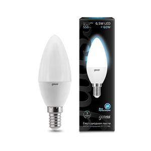Лампа Gauss LED Candle E14 6.5W 4100К 1/10/50