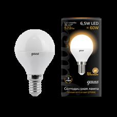 Лампа Gauss LED Globe E14 6.5W 2700K 1/10/50