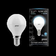 Лампа Gauss LED Globe E14 6.5W 4100K 1/10/50