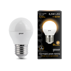Лампа Gauss LED Globe E27 6.5W 2700K 1/10/50