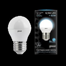 Лампа Gauss LED Globe E27 6.5W 4100K 1/10/50