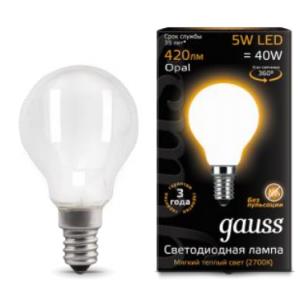 Лампа Gauss LED Filament Globe OPAL E14 5W 2700K 1/10/50