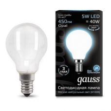 Лампа Gauss LED Filament Globe OPAL E14 5W 4100K 1/10/50