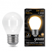 Лампа Gauss LED Filament Globe OPAL E27 5W 2700K 1/10/50