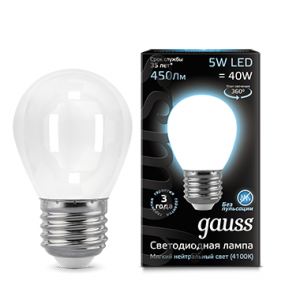 Лампа Gauss LED Filament Globe OPAL E27 5W 4100K 1/10/50