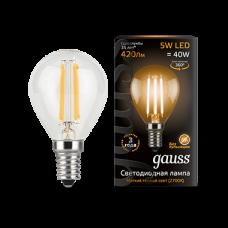 Лампа Gauss LED Filament Globe E14 5W 2700K 1/10/50