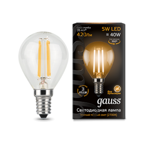Лампа Gauss LED Filament Globe E14 5W 2700K 1/10/50
