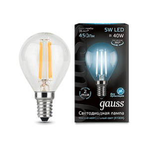 Лампа Gauss LED Filament Globe E14 5W 4100K 1/10/50