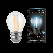 Лампа Gauss LED Filament Globe E27 5W 4100K 1/10/50