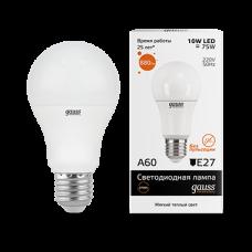 Лампа Gauss LED Elementary A60 10W E27 2700K 1/10/40