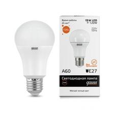 Лампа Gauss LED Elementary A60 15W E27 2700K 1/10/40