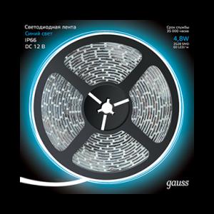 Лента LED 2835/60-SMD 4.8W  12V DC синий IP66 (блистер 5м)