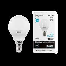 Лампа Gauss LED Elementary Globe 6W E14 4100K 1/10/50