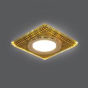 Светильник Gauss Backlight BL075 Квадрат. Кристалл/Черный/Золото, Gu5.3, LED 2700K 1/40