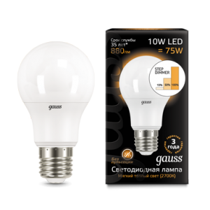 Лампа Gauss LED A60 10W E27 2700K step dimmable