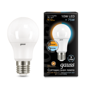 Лампа Gauss LED A60 10W E27 2700K/4100K CTC