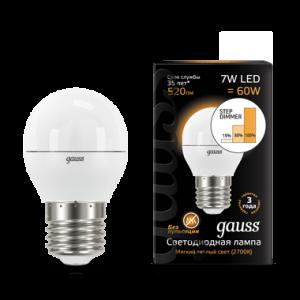 Лампа Gauss LED Globe E27 7W 2700K step dimmable