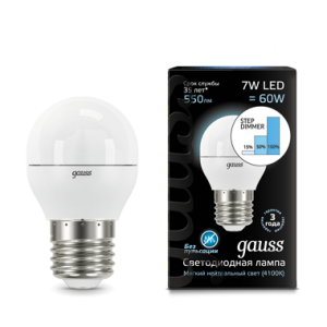 Лампа Gauss LED Globe E27 7W 4100K step dimmable