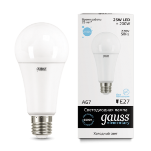 Лампа Gauss LED Elementary A67 25W E27 6500K